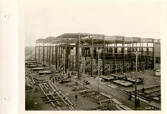 Outside showing construction of frames and bulkheads (City of Thunder Bay Archives) Tags: trawler thunderbay boatbuilding minesweeper shipbuilding canadiancarfoundrycolimited