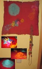 Filzbild - felted picture (Veri's kleiner Winkel) Tags: art modern rainbow felting kunst silk moderne vulcano regenbogen cocoon vulkan seide filzen kokon seidenkokons