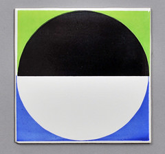 Carter tile from 1965 (robmcrorie) Tags: blue black green circle tile ceramic design silk screen pot 1950s pottery carter 1960s poole 1965