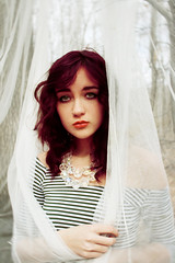 ++++ (peyton weikert) Tags: portrait girl self canon outside necklace mesh crystal lace nosering redhair striped