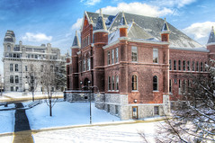 Syracuse University Winter (Tony Shi.) Tags: new york winter orange snow ny cold building college architecture campus hall university state hill central upstate cny syracuse su newyorkstate language romanesque hdr nys cuse syr tolly      2013   campius  syredu