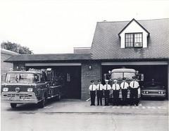 Swansea Fire Hall, July 1965. (Sofie Lasiuk) Tags: ontario canada ford blackwhite firestation firehouse mack firedept firehall thibault 1965 swnasea deforestrd