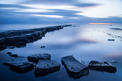 Kimmeridge Blues (paulwynn-mackenzie.co.uk) Tags: sunset seascape dark landscape coast rocks moody sony blues a33 dorset slt kimmeridge jurassiccoast