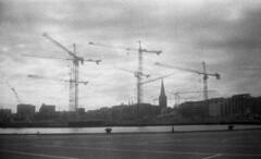 rhus through zorki eyes (Gladienne) Tags: city bw industry blackwhite harbour cranes rhusaarhus