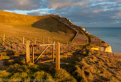 The Gate to Nowhere! (Tellyazz) Tags: uk winter light sunset sea england canon walking landscape evening coast gate dorset possibles eos5d dorsetcoastpath batshead middlebottom thedorsetrambler