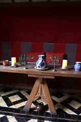 Barley Hall -- high table (Sarah Ross photography) Tags: york sarahr89 sarahrossphotography exhibit barleyhall history hightable tudor dininghall recreation jug red tile museum table hall food foodanddrink light vibrant colorful colourful colors colours delicious foodphotography