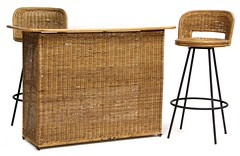 5. Mid Century Wicker Bar & Stools
