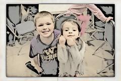 Blake and Mady (pete4ducks) Tags: family kids washington framed longbeach charcoal blake madelyn mady photoeffects 2013 befunky befunkycom