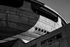 Concrete Enterprise (The New Motive Power) Tags: shadow blackandwhite mountain abstract texture abandoned monument architecture contrast concrete silent decay empty surreal peak structure historic communist bulgaria massive soviet socialist disused spaceship curve range derelict deserted isolated brutalist crumbling shipka balkan moderism staraplanina  betonbrut buzludzha canon7d