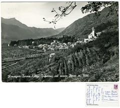 Roncegno Terme col monte Pizzo, 1968 (Ecomuseo Valsugana | Croxarie) Tags: 1968 monte cartolina pizzo roncegno montepizzo sittoni montibeller roncegnoterme croxarie giuseppesittoni