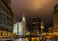 Chicago River (laszlofromhalifax) Tags: city usa chicago night river evening illinois downtown rainy metropolis chicagoriver raining