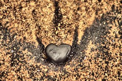 Black Heart (Lee Summerson) Tags: black macro beach sand pattern heart headland hartlepool seacoal