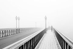 Fog, Skeppsholm Bridge (Hannes R) Tags: street city bridge winter people bw mist lamp fog walking town blackwhite streetlight day sweden stockholm streetlights walk lamps skeppsholmen skeppsholmsbron