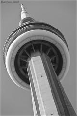 UFO Beam  /  Faisceau de soucoupe (Gvomit) Tags: blackandwhite toronto ontario canada tower art architecture cn canon tour cntower noiretblanc landmark structure 5d underneath latourcn endessous 5dmarkii gvomit gvophoto