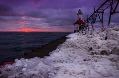 Lighthouse Sunset (rseidel3) Tags: sunset lighthouse lake ice water michigan lakemichigan