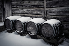 Barrels in the Snow (Larry Senalik) Tags: wood winter snow site illinois log cabin unitedstates state barrels petersburg abraham historic lincoln 2013