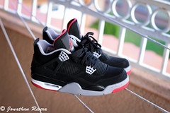 Bred 4's (Johnny Supreme) Tags: basketball canon four 50mm shoes 4 clarity nike retro jordan bred t4i