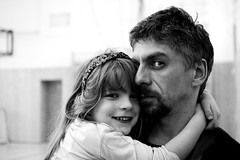 Daddy (I.Dostál) Tags: blackandwhite love daddy blackwhite hug dad view daughter like emotions vystava blackandwhiteonly blackwhitebwcbbn
