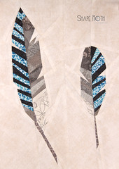 Feathers {Forest QAL} (2) (ShapeMoth) Tags: blue black bird woodland beige woods pattern jay quilt feather free block patchwork pp neutral paperpieced eurasianjay foundationpieced lowvolume shapemoth forestqal