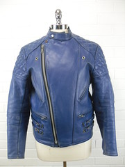 "Rare 1970s Blue Cafe Racer Jacket • <a style=""font-size:0.8em;"" href=""http://www.flickr.com/photos/92035948@N03/8549745300/"" target=""_blank"">View on Flickr</a>"
