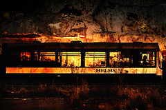 Hell Express (J_Q_H) Tags: sunset red orange bus wales canon flames a41 1dx