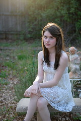 (tess_athey) Tags: flowers sunset portrait brown sunlight white flower green nature floral leaves garden hair vines pretty dress lace hipster pale hippie 18