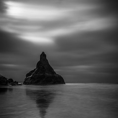 Pyramid Rock (Martin Mattocks (mjm383)) Tags: ocean longexposure sky blackandwhite white seascape black reflection water rock clouds contrast canon mono cornwall pyramid coastline bedruthansteps leefilters canoneos5dmarkii distagon2128ze cornwalllandscapes mjm383 martinmattocksphotography