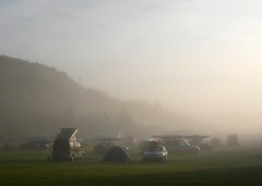 Camping at Dawn (john atte kiln) Tags: uk camping mist cars field misty sunrise boats dawn scotland tents britain united kingdom canoe vehicles canoes campsite daybreak canoeonroof