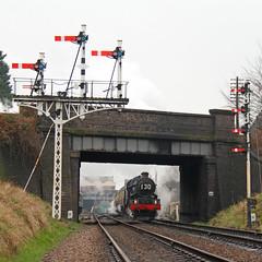 Leaving Loughborough (Treflyn) Tags: bridge snow train photo king great central rail railway loco class steam signals western restored locomotive signal loughborough charter recently gantry gwr 460 6023 kingedwardii
