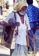 Old man in an Orissa village (bokage) Tags: india man shrine village religion hanuman hindu hinduism orissa bokage