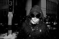 (Matt Obrey) Tags: street blackandwhite bw snow man monochrome face glasses birmingham fuji flash streetphotography hood x100 birminghamstreet fujix100
