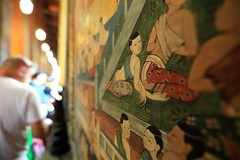 ~Bangkok    Mural frescoes OF Wat Pho~ (PS~~) Tags: trip travel sunset vacation sky holiday building art tourism architecture thailand temple photography gold golden asia tour place earth spires bangkok buddha buddhist religion sightseeing buddhism grand palace tourist journey po planet  sight reclining traveling southeast ornate wat visiting pho statuary exploration hindu siam  touring deity bkk hindi illuminate thep   travelphotography plated rattanakosin krung   kingdomofthailand  totallythailand historyremains