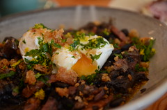 Oozy yolk - Rio Calling feijoada of black beans, pork shoulder, lardons, poached eggs - The General Food Store, Emerald - close (avlxyz) Tags: fb4 feijoada blackbeans pangrattato lardons chorizo porkshoulder poachedeggs cassoulet