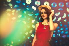 Kaleidoscopic (Spectrum) (Dizzodin) Tags: kaleidoscope bokeh bokah girl portrait experiment avant garde retro 1960s arcade holographic cd light color
