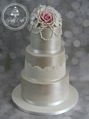 Lustred Vintage Blush Pink Rose 3 Tier Wedding cake With Pearl Swags. (Ponty Carlo cakes) Tags: 3tier blush blushpink cake cardiff ganache lace lustred pearls pink pontycarlocakes pontypridd rose roses sharpedge southwales vintage weddingcake