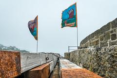 Sea salt & sail... (AJFpicturestore) Tags: cornwall sss seasaltandsail mousehole flag harbour alanfoster mizzle