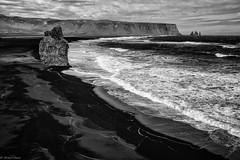 View of Reynisfjara (michael.mu) Tags: leica m240 35mm leicasummicronm1235mmasph leicasummicron35mmf20asph iceland landscape blackandwhite bw silverefexpro reynisfjara dyrhlaey beach blacksandbeach monochrome