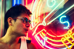 Heavy Thought (Jon Siegel) Tags: nikon nikkor d810 50mm 12 nikon50mmf12ais 50mmf12 50mm12 man sunglasses cool thinking spacingout neon light glow ambience portrait reflections night evening cinematography cinematic singapore singaporean people
