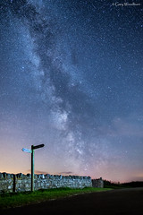 The Finger Post - Milky Way, Budle, Northumberland (Gary Woodburn) Tags: milky way stone wall marker sign post footpath night sky stars starry dark canon 6d samyang 24mm waren mill northumberland