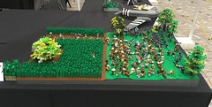 Bloody Lane, Battle of Antietam, 1862 (brick_builder7) Tags: brickbuilder7 flag troops bayonets death attack plow grass corn fence tree brick brickarms history day military single lane bloody casualties rebs yankees north south confederates union battle antirtam 1862 american war civil lego
