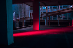 Dissolved (elsableda) Tags: night long exposure red light lights architecture shadow line geometry dystopia building city urban southafrica joburg johannesburg