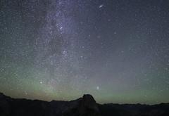 Andromeda galaxy and Pleiades over half dome (vaibhavkulkarni) Tags: andromeda pleiades halfdome milkywayatyosemite yosemite