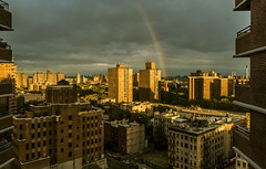 """Rainbow Over Brooklyn After A Summertime Storm (nrhodesphotos(the_eye_of_the_moment)) Tags: dsc06384160 """"theeyeofthemoment21gmailcom"""" """"wwwflickrcomphotostheeyeofthemoment"""" rainbow arc sky skyline nyc brooklyn manhattan colorful architecture cloud railing metal windows view perspective east summertime season city outdoor urban weather building dusk evening"""