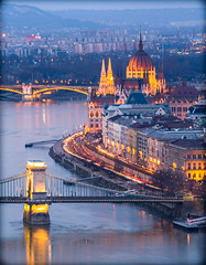 View from Gellert hill at blue hour. (Vagelis Pikoulas) Tags: budapest buda pest hungary europe travel canon 6d tamron 70200mm vc river dunave parliament blue hour light lights bridge chains 2016 january winter