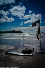 L1002549 (granth2903) Tags: leica m9 voightlander 35 25 cornwall polzeath beach beachside sea seascape seaside surf surfing water watersports reflections sky summer wwwgranthardenphotographycom