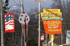 Colored Cable (waitscm) Tags: ny motel adirondacks icecream oldsign cranberrylake coloredcable