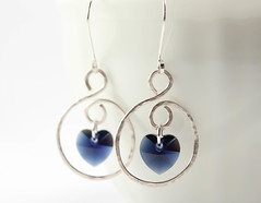 Heart of the Ocean Silver Earrings 3 (BlueSeaJewels) Tags: earrings heartearrings heartofthesea valentinesearrings blueseajewelsjanuaryearrings indigoswarovski