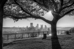 The sun rises over Pittsburgh as seen from the West End Overlook in B&W HDR (Dave DiCello) Tags: beautiful skyline photoshop nikon pittsburgh tripod usxtower christmastree mtwashington northshore northside bluehour nikkor hdr highdynamicrange pncpark thepoint pittsburghpirates cs4 d600 ftpittbridge steelcity photomatix beautifulcities yinzer cityofbridges tonemapped theburgh clementebridge smithfieldstbridge pittsburgher colorefex cs5 ussteelbuilding beautifulskyline d700 thecityofbridges pittsburghphotography davedicello pittsburghcityofbridges steelscapes beautifulcitiesatnight hdrexposed picturesofpittsburgh cityofbridgesphotography