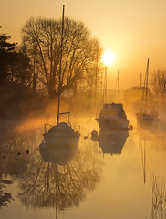 Undiscovered.... (Chrisconphoto) Tags: mist reflections boats dorset wareham frome goodlight riverfrome