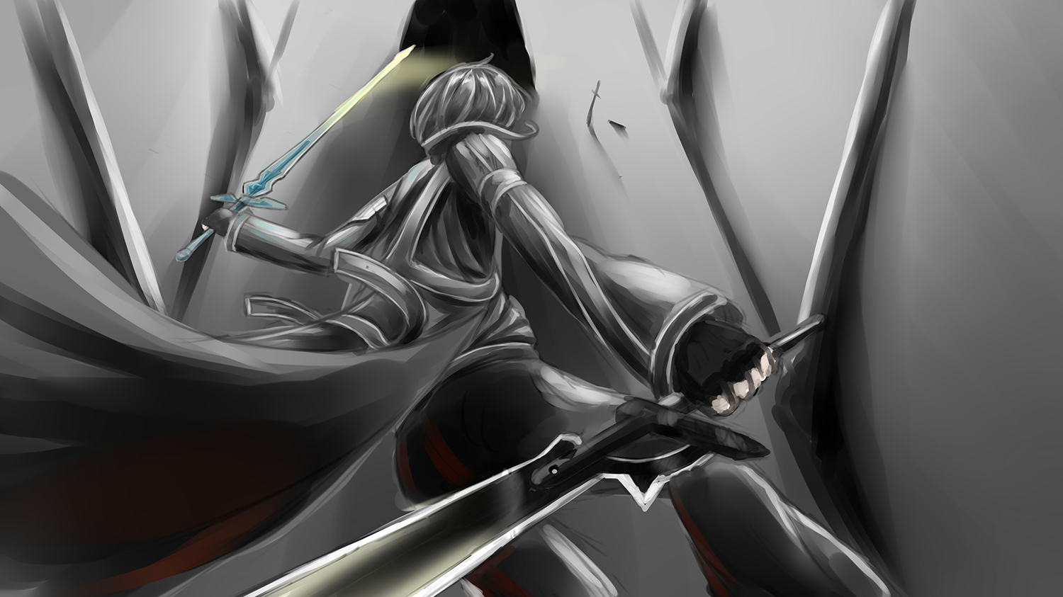 konachan 142731 black_hair kirigaya_kazuto old_books short_hair sword sword_art_online weapon.jpg
